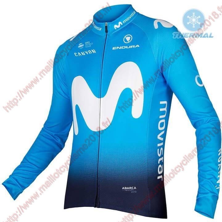 Movistar 2018 Team blå Cykeltröja lång ärm Winter 5044_sP2JX